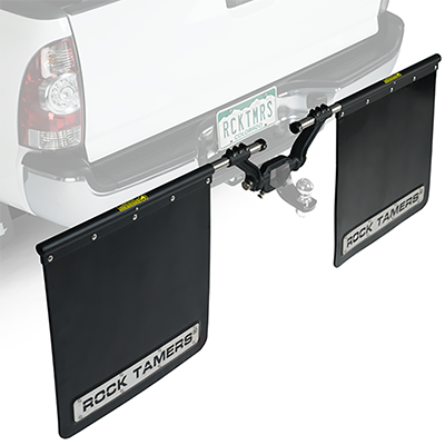 Rock Tamers Mudflap System 00112 3 Hub with Matte Black Stainless Steel Trim Plates