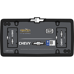 Chevy themed matte black and chrome plated license plate frame, a new twist on an old classic.