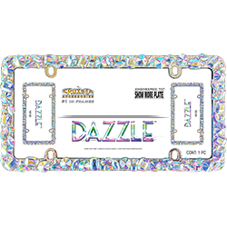 Dazzle license plate frame with many blingy stones, in packaging.