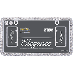 Brilliantly sparkly chrome plated license plate frame, solid bar on 1 long end, 2 mounting holes, 2 diamond bling caps.