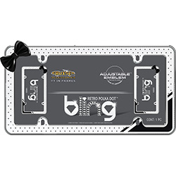 Retro polka dot license plate frame with white background and black dots featuring a black bow make this frame classy