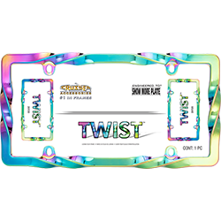 Front facing Twist license plate frame with shiny iridescent rainbow colors in packaging