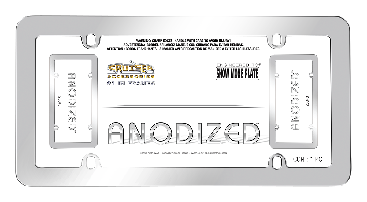 Anodized, Silver - License Plate Frame | Cruiser Accessories