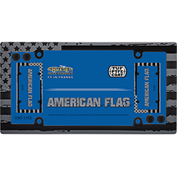 Cruiser's American Flag black and grey version of the USA Flag license plate frame is a retro way to display Proud to be an American! Image displays item in packaging.