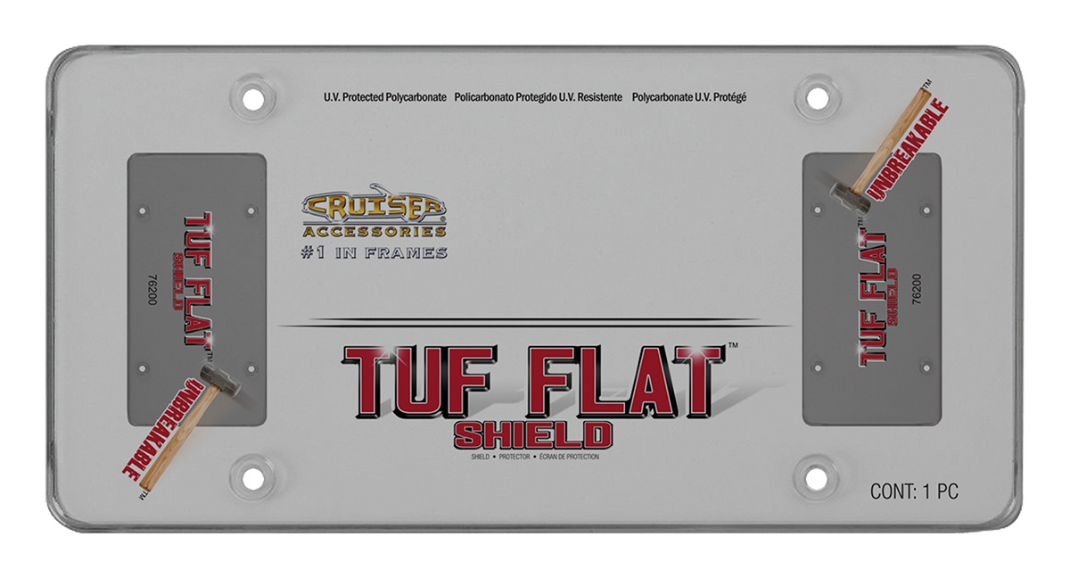 Cruiser Accessories 76100 Tuf-Shield Clear Flat License Plate Cover 2 Covers