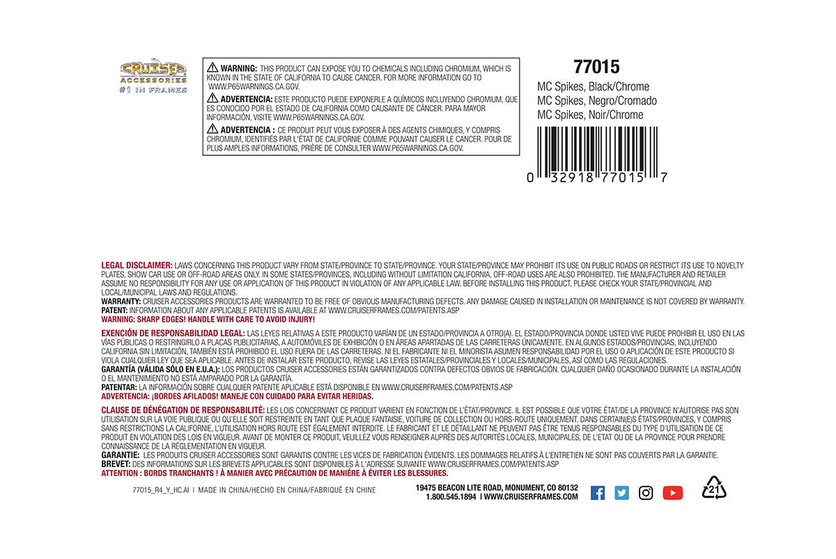 Cruiser Accessories MC License Plate Frame Spikes Black//Chrome 77015