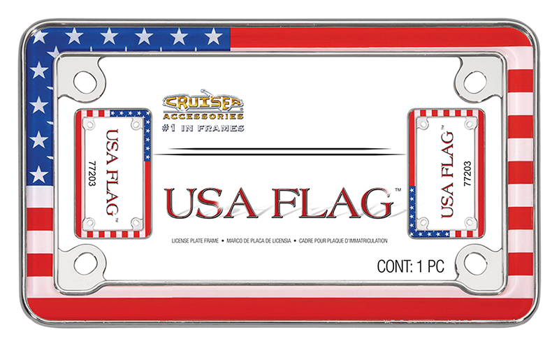 USA Flag - Motorcycle License Plate Frame   Cruiser Accessories