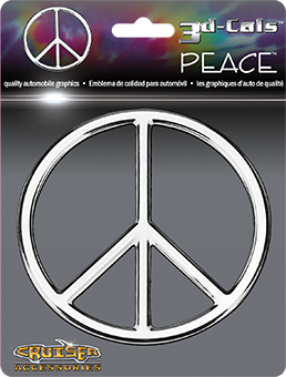 Shop here for Cruiser's auto decals, Peace Sign decal displayed.