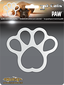 Shop here for Cruiser's auto decals, Paw print decal displayed.