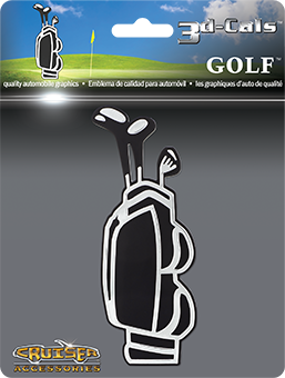 Shop here for Cruiser's auto decals, Golf Bag decal displayed.